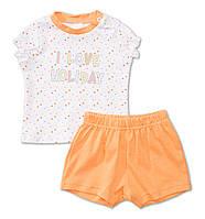 Детская пижама для девочки в горошек (футболка+шорты) из био-хлопка