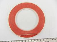 Скотч двухсторонний температуростойкий прозрачный - красный  5 мм *25