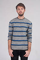 Серый джемпер в синию полоску, фото 1