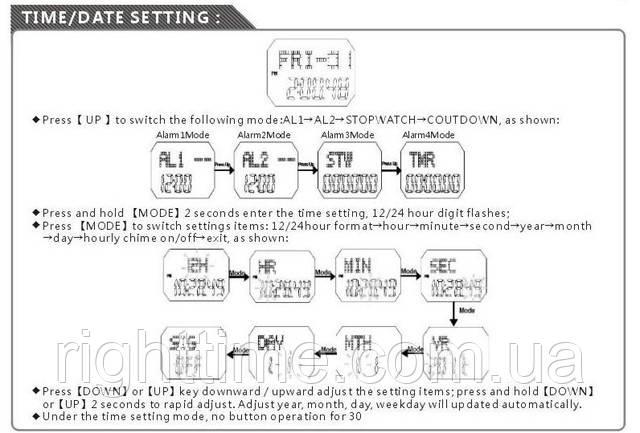 инструкция для часов Skmei 1058 на русском - фото 3