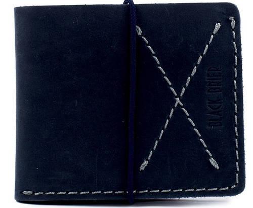 Мужской надежный тонкий кожаный бумажник на резинке Black Brier П-1-97 темно-синий