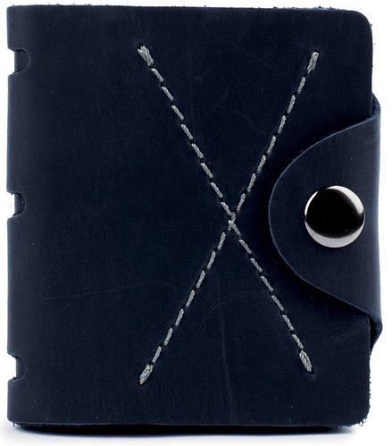 Мужское удобное портмоне на кнопке из натуральной кожи Black Brier П-5-97 темно-синий