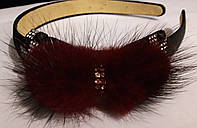 Элитный обруч стразы бант бордовый мех норка  атлас