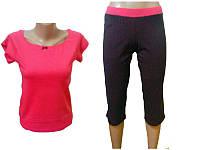 """Комплект спальный женский бриджи с футболкой P 08 """"Ego"""" 95% хлопок цвет розовый"""