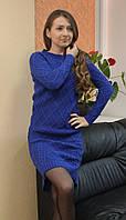 Модное женское вязаное платье Турция синие