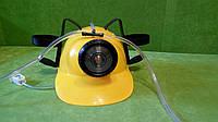 Шлем для пива желтого цвета с фонариком