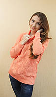 Женский ажурный вязаный свитер с хомутом кораловый