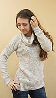 Женский ажурный вязаный свитер с хомутом бежевый