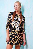 Модное короткое платье с принтом свободного кроя