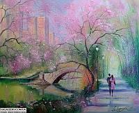 «Весна в городском парке» картина маслом