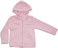 Теплая кофта - куртка с капюшоном, для девочки, розовая, рост 104 см, Фламинго