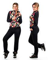 Спортивный костюм двунитка+ стеганный трикотаж в цветы размеры 48-50 50-52 52-54