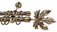 Карниз кованый двойной, наконечник Клен, 240см.