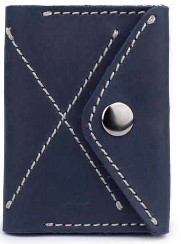 Тонкое мужское кожаное портмоне на кнопке Black Brier П-11-97 темно-синий