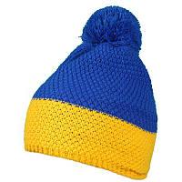 Акриловая желто-синяя шапка