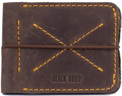 Кожаное лаконичное мужское портмоне Black Brier П-14-33 коричневый