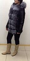 Кожаная женская куртка , съемные рукава с лисой