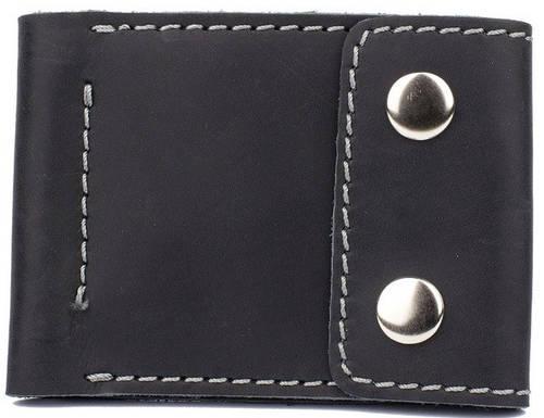 Мужское удобное ультра тонкое кожаное портмоне с зажимом для купюр Black Brier П-16-35 черный