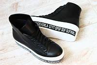 Ботинки демисезон на байке криперы на высокой подошве с буквами кожаные черные на шнурках