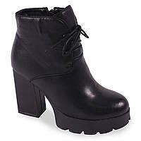 Зимние ботильоны  на каблуке Summergirl(удобные, на шнуровке , на замке, тракторная подошва, черные, стильные)