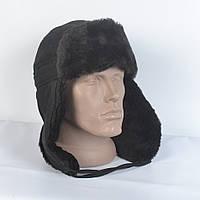 Мужская шапка ушанка из плащевки - Искусвенный мех Мутона (код 29-232)