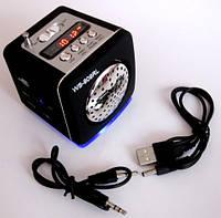 Портативная колонка-радио WS-909RL MP3/SD/USB/AUX/FM/LED фонарь, black, фото 1