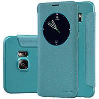 Кожаный чехол книжка Nillkin Sparkle для Samsung Galaxy S6 Edge PLUS голубой