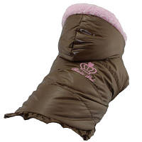 """Зимняя куртка с капюшоном """"Принцесса"""", шоколад, размеры XS, S  для щенков и собак мелких пород"""
