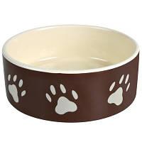 Trixie (Трикси) Миска керамическая для собак и кошек с рисунком Лапки 300мл*12см