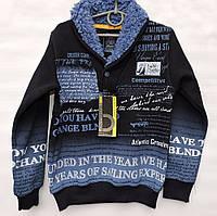 Худи для мальчика 8-14 лет Blueland с мехом темно-синяя