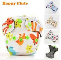 Многоразовый детский подгузник для новорожденных БАМБУКОВЫЙ Happy Flute