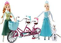 Большой набор из 2 кукол 25 см, велосипеда и снеговика. Disney Frozen Anna and Elsa's Musical Bicycle Playset