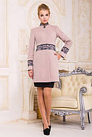 Женское бежевое пальто средней длины, кашемировое