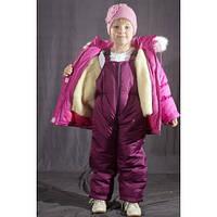 Зимний костюм - комбинезон ( куртка+штаны) однотонный для девочки
