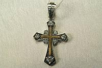 Крестик на цепочку серебряный с золотом и фианитами