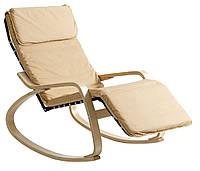 Кресло качалка с подставкой для ног тканевое