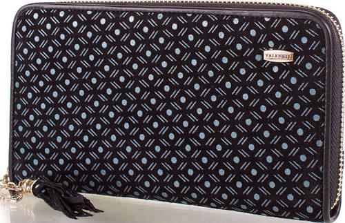 Вместительный  женский кошелек из кожи  VALENSIY (ВАЛЕНСИ) DSA013181104-black-blue (черный)