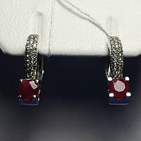 Эксклюзивные серьги серебро с рубином и цирконами Флори 2236/9р