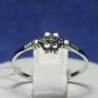 Красивое серебряное кольцо Цветок с камушками 1003