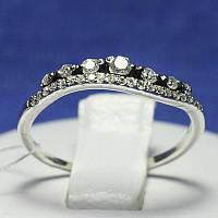 Изогнутое серебряное кольцо для девушек с цирконами 1040