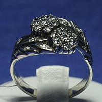 Креативное серебряное кольцо Цветы с камнями 1285