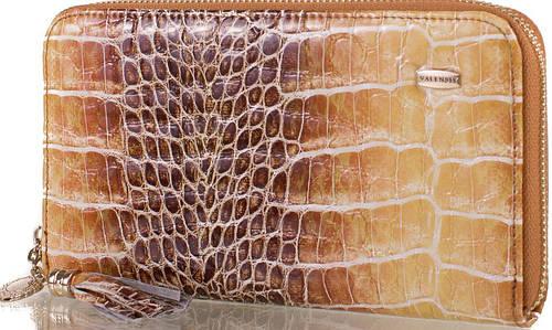 Чрезвычайный яркий женский кожаный кошелек  VALENSIY (ВАЛЕНСИ) DSA01324167-yellow-brown (коричневый)