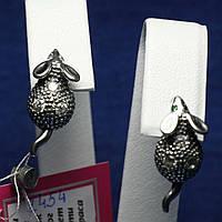 Черненые серьги из серебра с камнями детские Мышки 2454