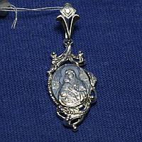 Женская иконка Божья Матерь из серебра на шею 3701-р