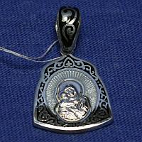 Православная серебряная ладанка Богородица с эмалью 331058