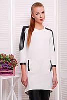 Женское красивое платье-туника с кожаными вставками