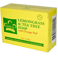 Мыло для лица и тела Nubian Heritage  Lemongrass & Tea Tree Soap With Orange Peel
