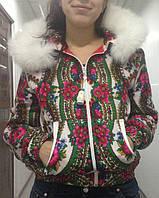 Куртка из платка с капюшоном на синтепоне в стиле Матрешка