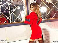 Платье Двойной волан красное