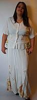 Костюм женский (блузка с юбкой), молочный, на 48-52 размеры